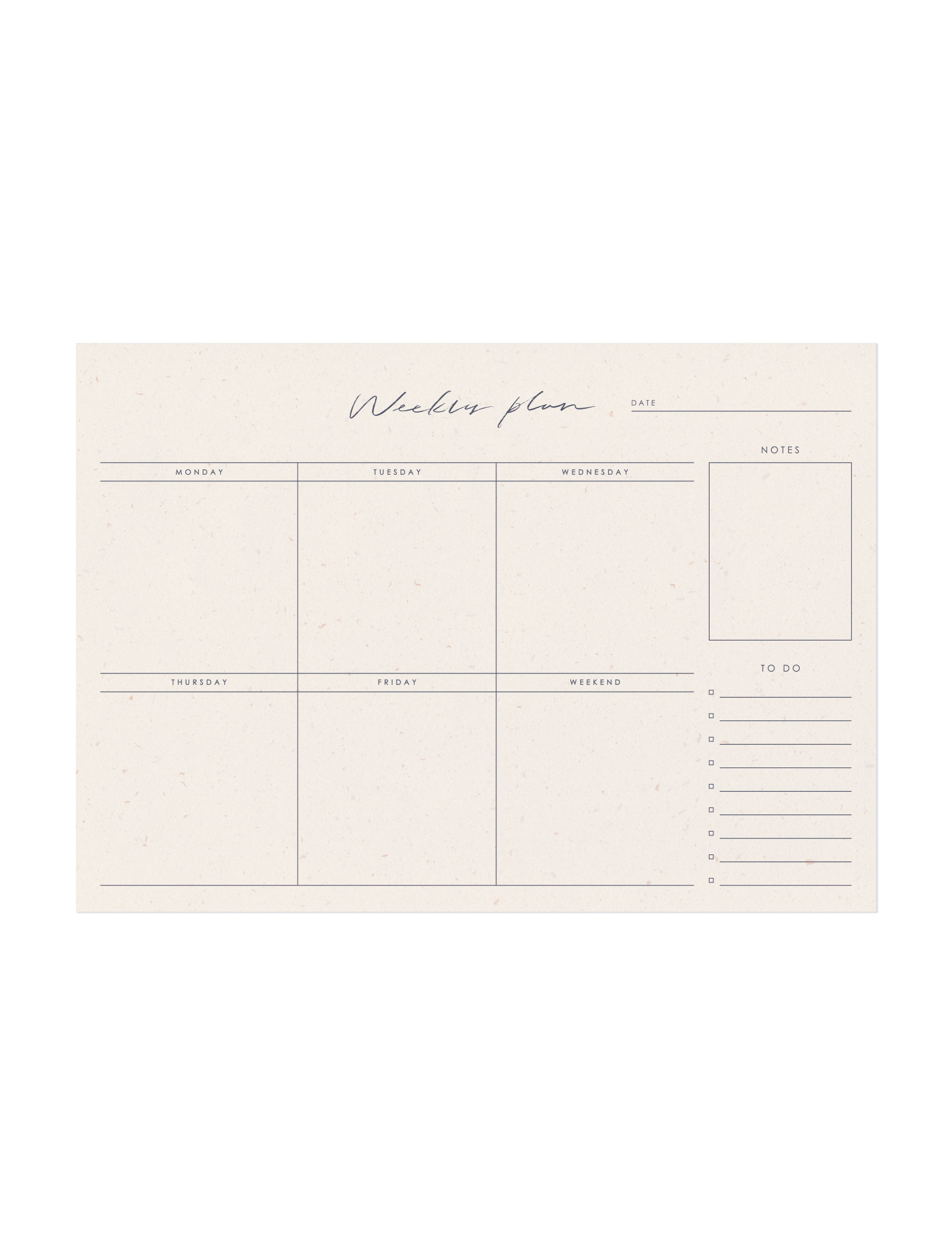 Calligraphy Weekly Plan Pad